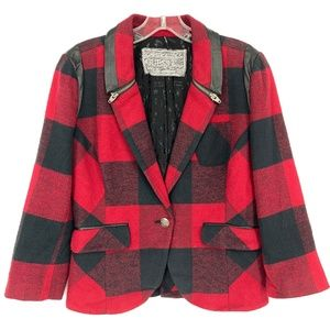 Guess Jeans Sz M Red Buffalo Plaid Check Blazer